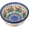 "Polish Pottery Bowl 6"" Crimson Bells"