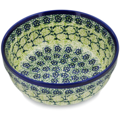 "Polish Pottery Bowl 6"" Emerald Forest"