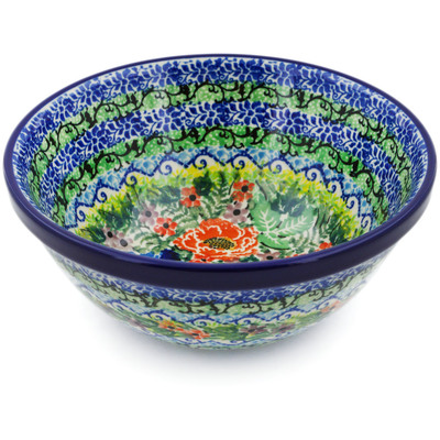 "Polish Pottery Bowl 6"" Floral Bounty UNIKAT"