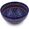 "Polish Pottery Bowl 6"" Floral Peacock"