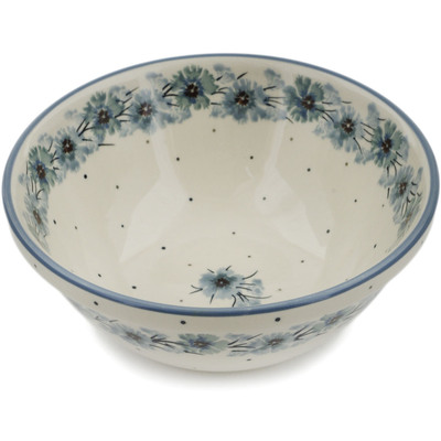 "Polish Pottery Bowl 6"" Frozen Flowers"