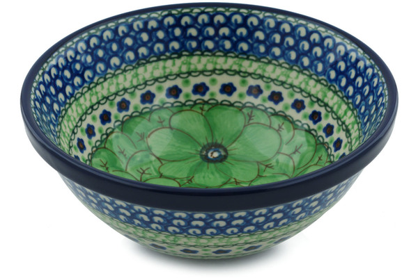 Polish Pottery Bowl 6 Green Pansies Unikat