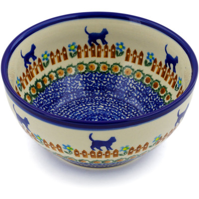 "Polish Pottery Bowl 6"" Kittens Fence Walk"
