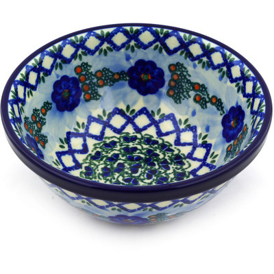 "Polish Pottery Bowl 6"" Latice Daisy UNIKAT"