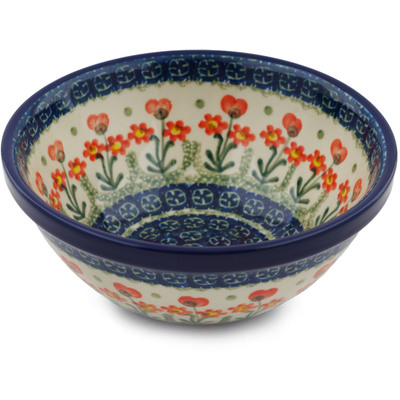 "Polish Pottery Bowl 6"" Peach Spring Daisy"