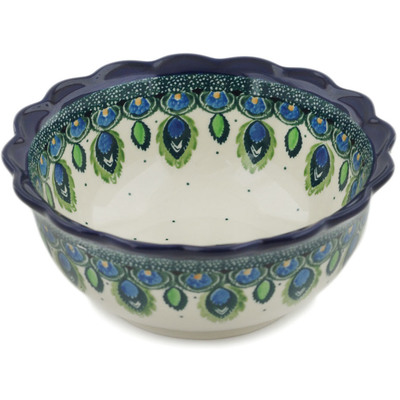 "Polish Pottery Bowl 6"" Peacock Feather"