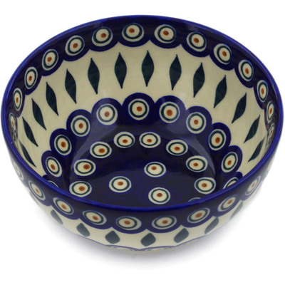 "Polish Pottery Bowl 6"" Peacock"
