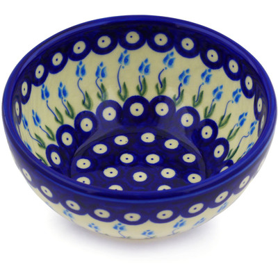 "Polish Pottery Bowl 6"" Peacock Tulip Garden"