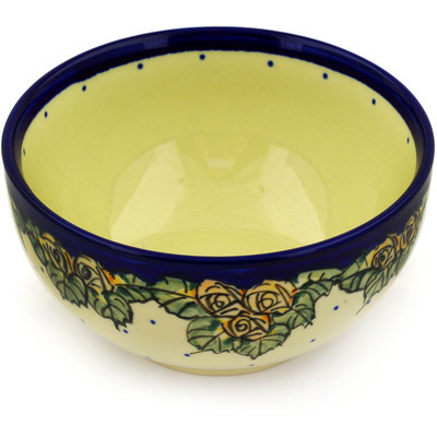 "Polish Pottery Bowl 6"" Red Cabbage Roses"