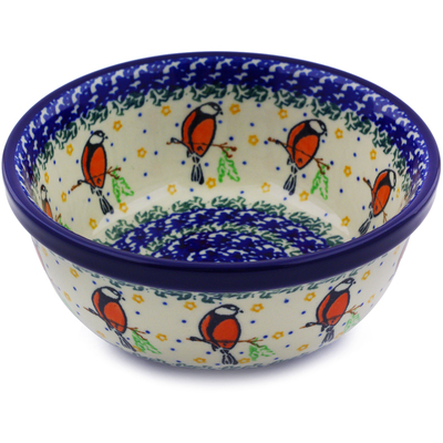 "Polish Pottery Bowl 6"" Redbird On A Wire"