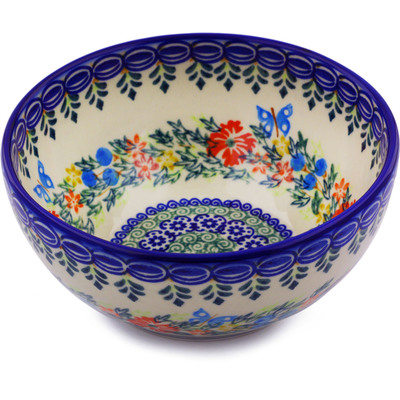 "Polish Pottery Bowl 6"" Ring Of Flowers UNIKAT"