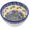 "Polish Pottery Bowl 6"" Sunflower Peacock"