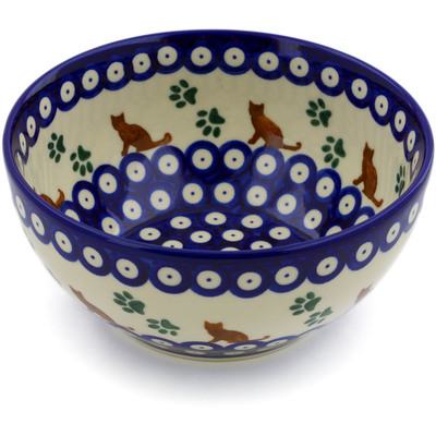 "Polish Pottery Bowl 6"" Traditional Kitty"