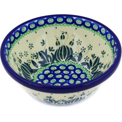 "Polish Pottery Bowl 6"" Weeping Tulips UNIKAT"
