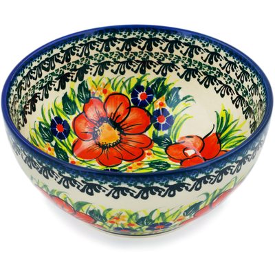 "Polish Pottery Bowl 6"" Wild Bouquet UNIKAT"