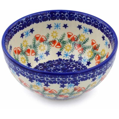 "Polish Pottery Bowl 6"" Wreath Of Bealls"