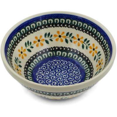 "Polish Pottery Bowl 6"" Yellow Daisy Swirls"