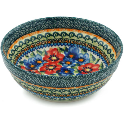 "Polish Pottery Bowl 7"" Blue And Red Poppies UNIKAT"