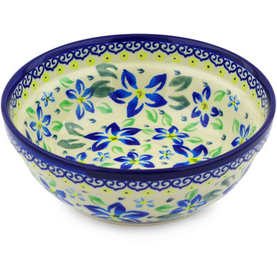 "Polish Pottery Bowl 7"" Blue Clematis"
