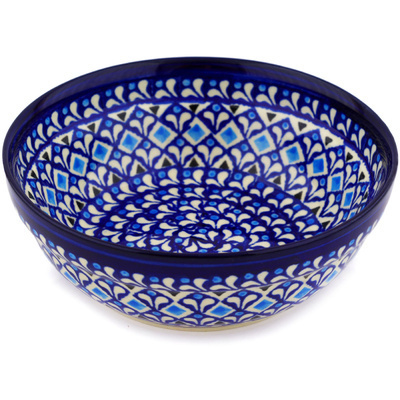 "Polish Pottery Bowl 7"" Blue Diamond Dream"