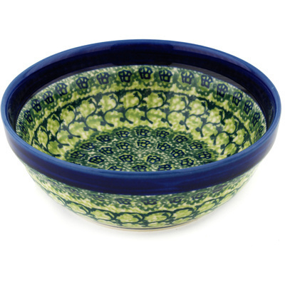 "Polish Pottery Bowl 7"" Emerald Forest"