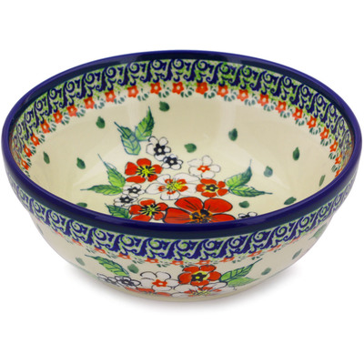"Polish Pottery Bowl 7"" Flower Heaven UNIKAT"