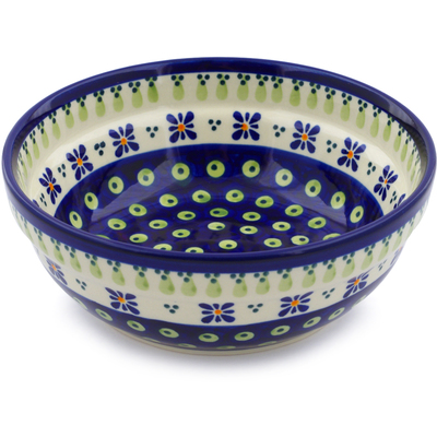 "Polish Pottery Bowl 7"" Green Gingham Peacock"