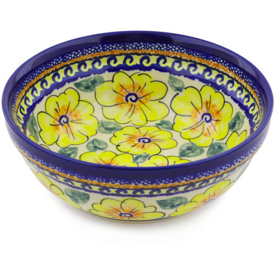 "Polish Pottery Bowl 7"" Lemon Poppies UNIKAT"