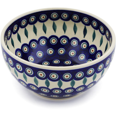 "Polish Pottery Bowl 7"" Peacock"