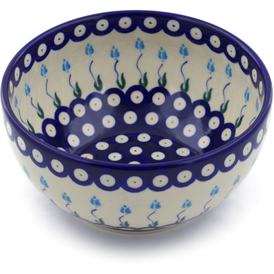 "Polish Pottery Bowl 7"" Peacock Tulip Garden"