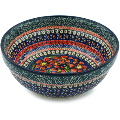 "Polish Pottery Bowl 7"" Poppies UNIKAT"