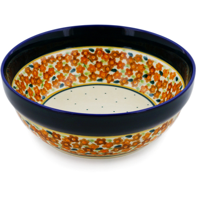 "Polish Pottery Bowl 7"" Russett Floral"