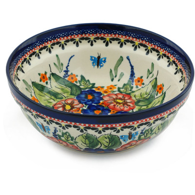 "Polish Pottery Bowl 7"" Spring Splendor UNIKAT"