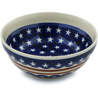 "Polish Pottery Bowl 7"" Stars And Stripes Forever"