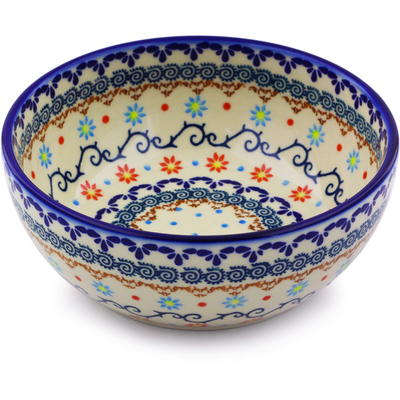 "Polish Pottery Bowl 7"" Sunflower Dance"