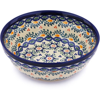 "Polish Pottery Bowl 7"" Tatted Flower UNIKAT"