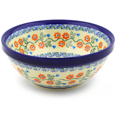 "Polish Pottery Bowl 7"" Tulip Vines"