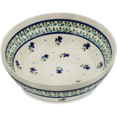 "Polish Pottery Bowl 7"" Violet Tulips"