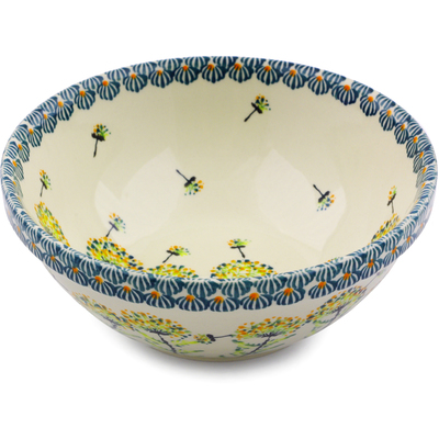 "Polish Pottery Bowl 7"" Yellow Dandelions"