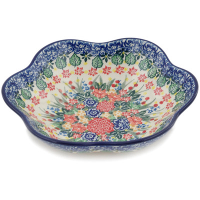 "Polish Pottery Bowl 8"" Red Bouquet UNIKAT"