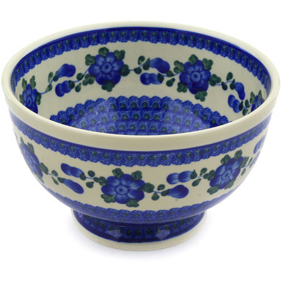 "Polish Pottery Bowl 9"" Blue Poppies"