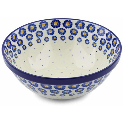 "Polish Pottery Bowl 9"" Blue Zinnia"