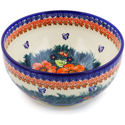 "Polish Pottery Bowl 9"" Butterfly Splendor UNIKAT"