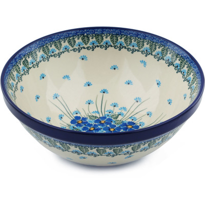 "Polish Pottery Bowl 9"" Forget Me Not UNIKAT"