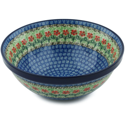 "Polish Pottery Bowl 9"" Maraschino"