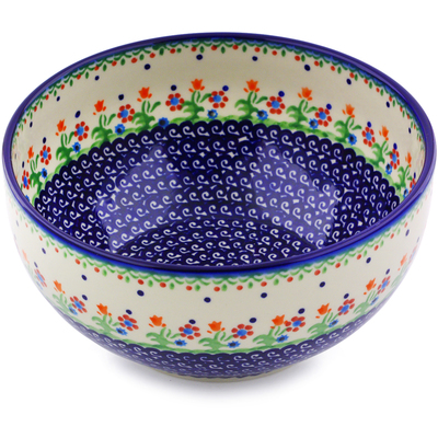 "Polish Pottery Bowl 9"" Spring Flowers"