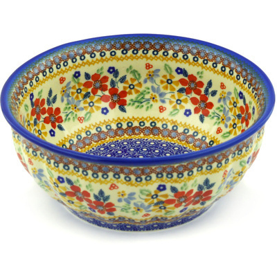 "Polish Pottery Bowl 9"" Summer Bouquet UNIKAT"