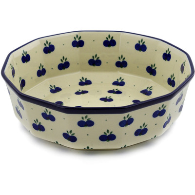 "Polish Pottery Bowl 9"" Wild Blueberry"