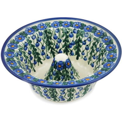 "Polish Pottery Bowl "" Blueberry Drops UNIKAT"