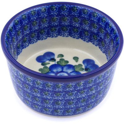 Polish Pottery Bowl Small Blue Poppies